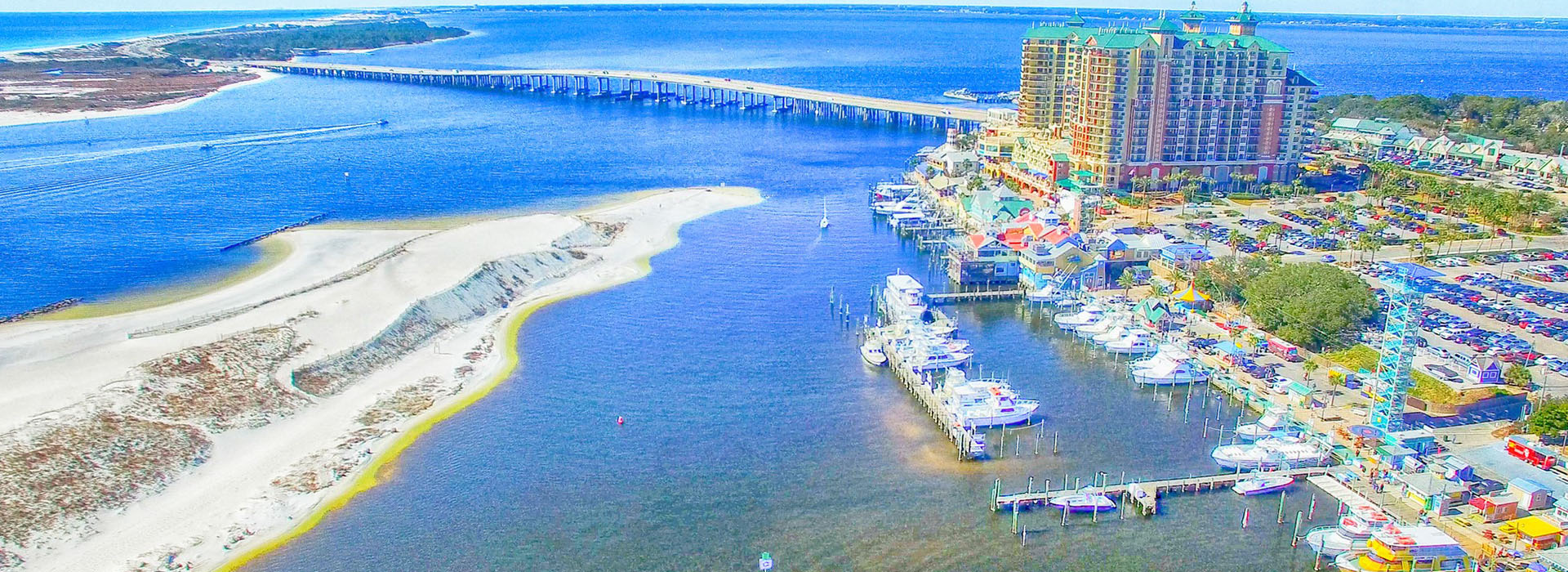 Destin, Florida. Aerial view of beautiful city skyline