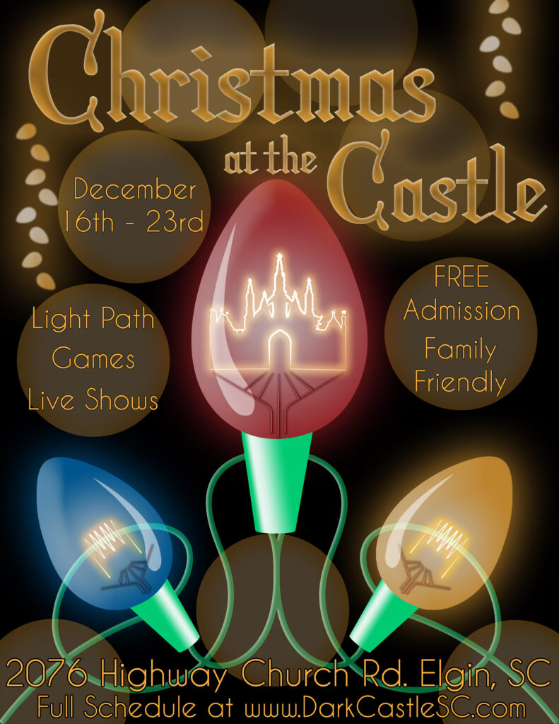 Christmas At The Castle is a Free admission event with live performances and a light path through the woods.