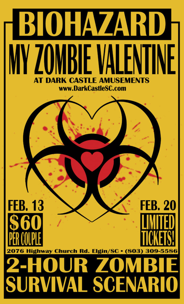 Poster for My Zombie Valentie Event at Dark Castle Haunted Attractions/Amusements