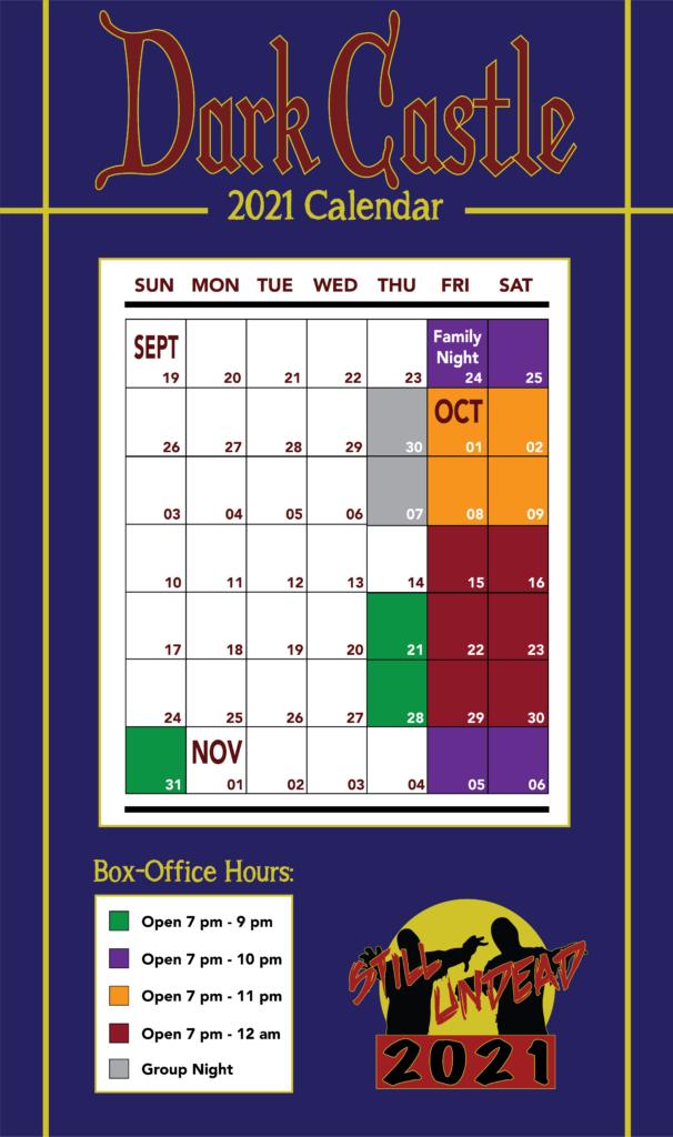 2021 Halloween Season Calendar at Dark Castle Haunted Attractions.