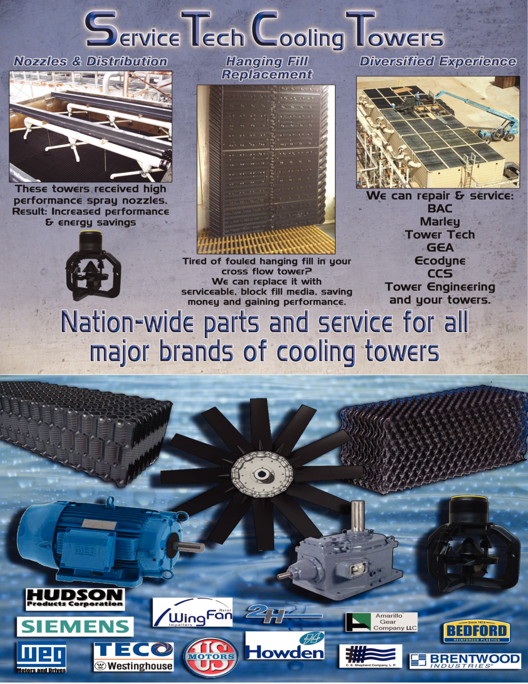 OEM Cooling Tower Service, Maintenance and Parts
