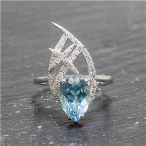 5.15 ct Blue Topaz & Sapphire Sz 7 SS $189.98
