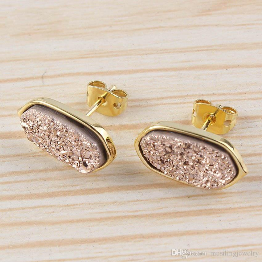 Crystal druzy earings with 18k gold plating $39.99
