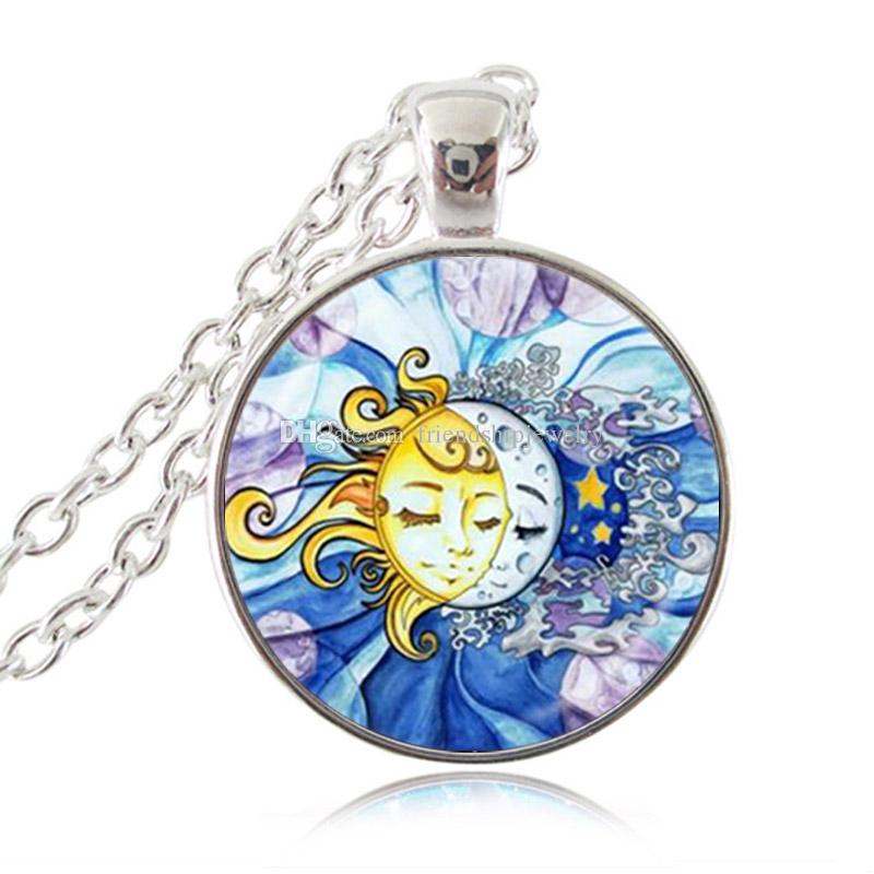 Sun and Moon Necklace Sterling Silver Coated $24.99