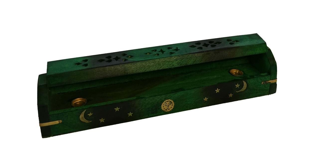 Wooden Burned Coffin Box Green Sun Moon Star $16.99