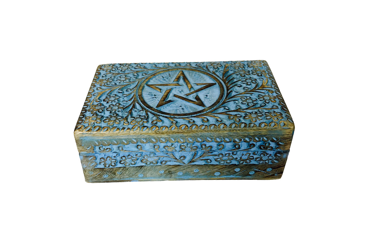 Pentacle Wood Box Colored 5x8 $24.99