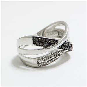 .12ctw Fancy Black & White Diamond SS Sz 7 $99.99