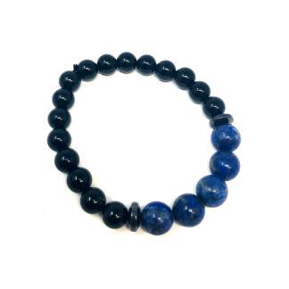 Black Onyx and Lapis Lazuli Gemstone Bracelet