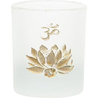 Namaste Lotus Frosted Glass Votive Candle Holder with Gold Design