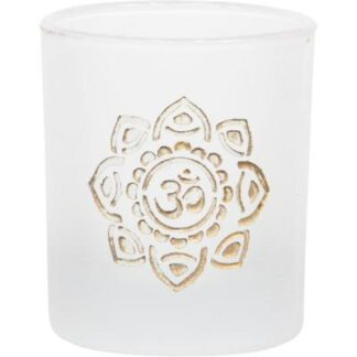 Om Flower Frosted Glass Votive Candle Holder with Gold Design