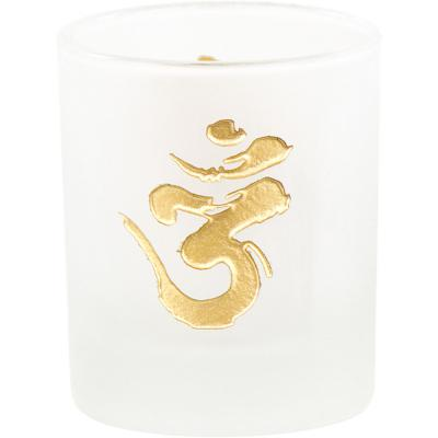 Om Frosted Glass Votive Candle Holder with Gold Design