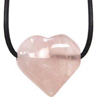 Rose Quartz Puffed Heart Necklace