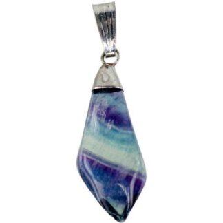 Diamond Shaped Rainbow Fluorite Necklace
