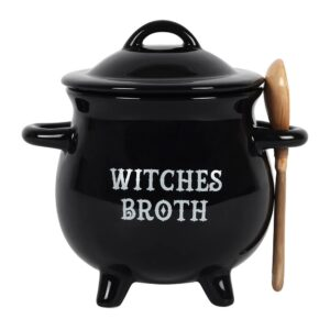 Witches Broth Cauldron with Lid and Broom Spoon