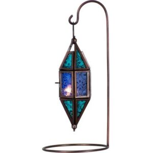 Blue Patterned Glass Lantern with Stand