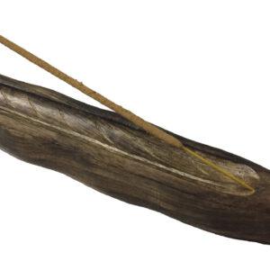 Carved Wood Boat Incense Holder
