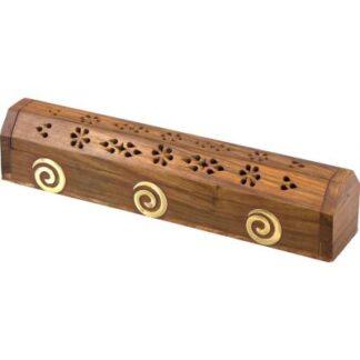 Spirals Wooden Coffin Incense Burner