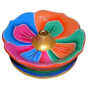 Painted Wooden Lotus Tibetan Incense Holder