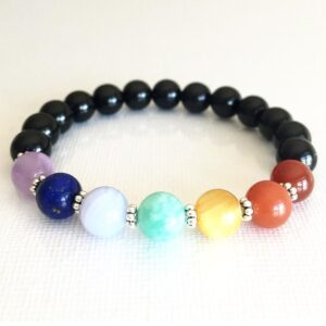 7 Chakra and Black Tourmaline Bracelet