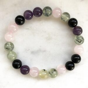 Black Tourmaline and Prehnite with Rose Quartz Bracelet