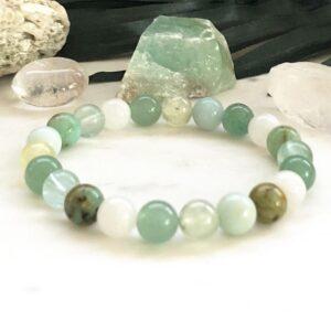 Turquoise Green Aventurine and Prehnite Bracelet