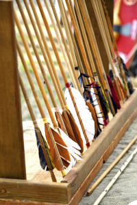 Close up of ancient wood arrows at celtic festival
