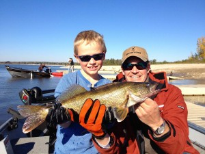Callan and Dad Geoff on Belwood with a Fall Walleye...