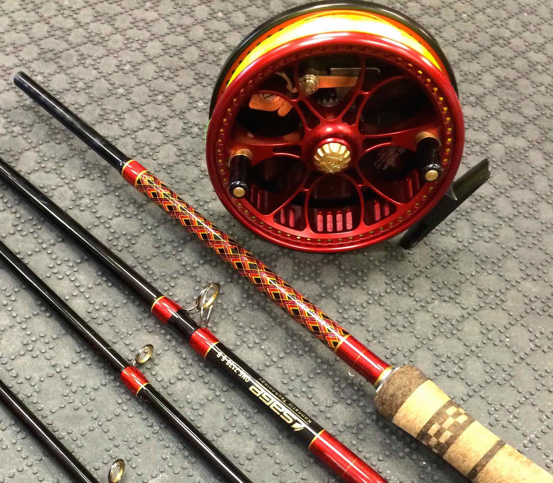 Sage One Custom 7136B-6 Custom Float Rod Build with Red Zeppelin with Butt Wrap to match