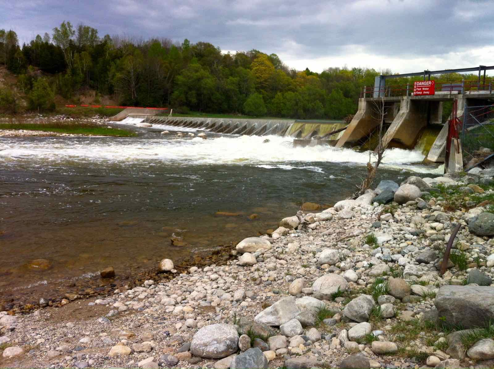 The Saugeen River at Denny's Dam at Summer levels.