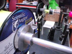 Spooling Scientific Anglers Fly Line Backing with HLS's Professional Line Spooling Machine.