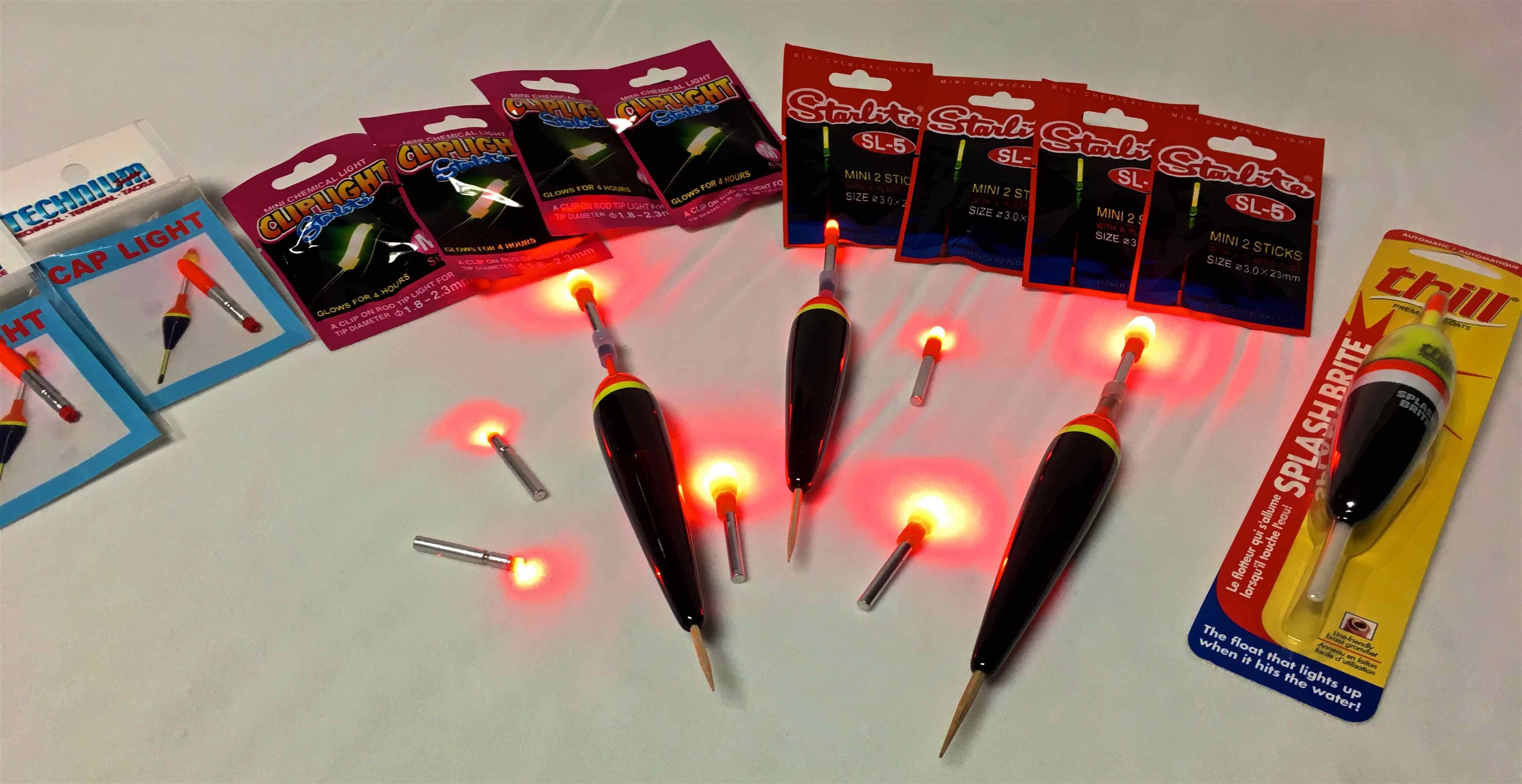 Assorted Night Fishing Lighted Floats and Accessories Technium Rod Lights DDD