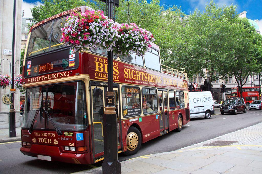 Sightseeing tour bus