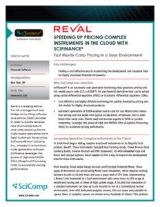 Reval/SciFinance Case Study