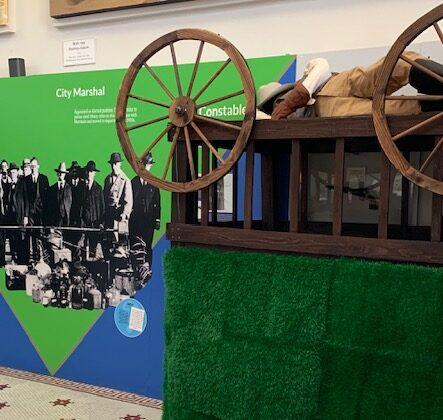 Upside down wagon in exhibit