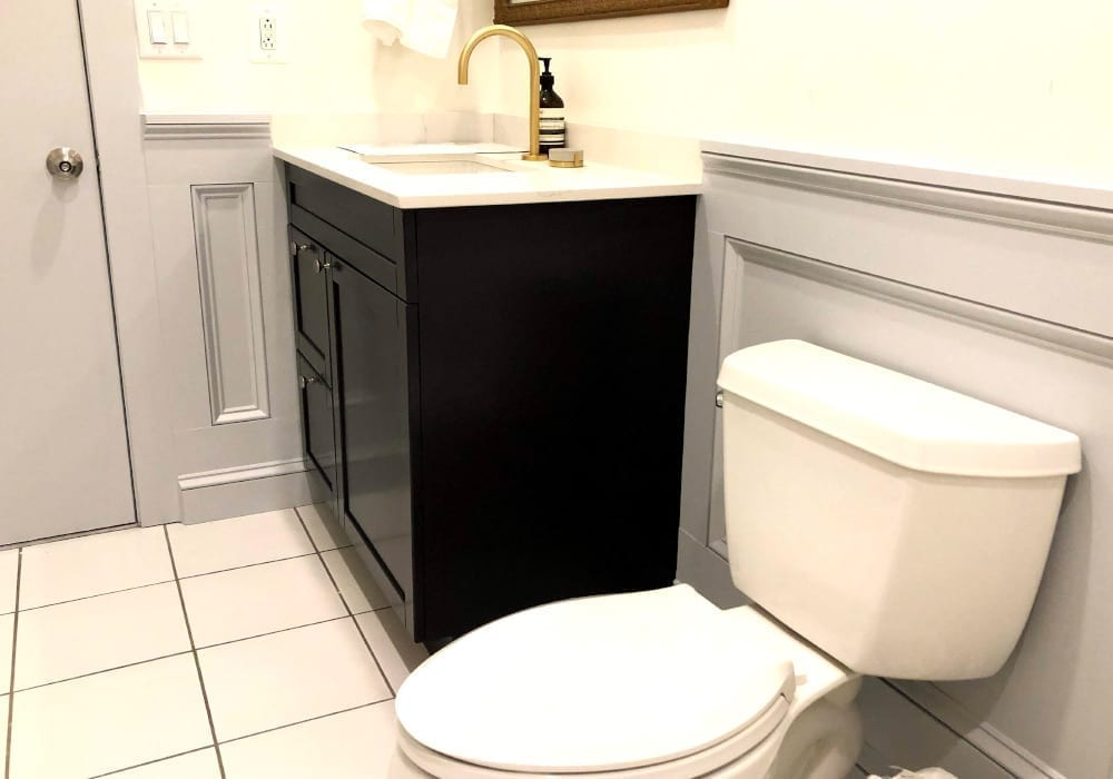 bathroom wainscoting after