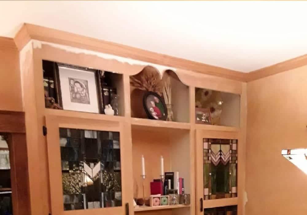 interior bookcase before