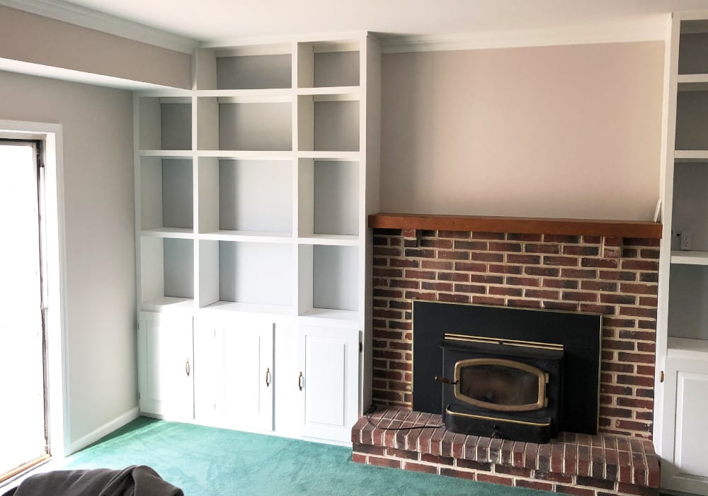 built-in cabinet refinishing after