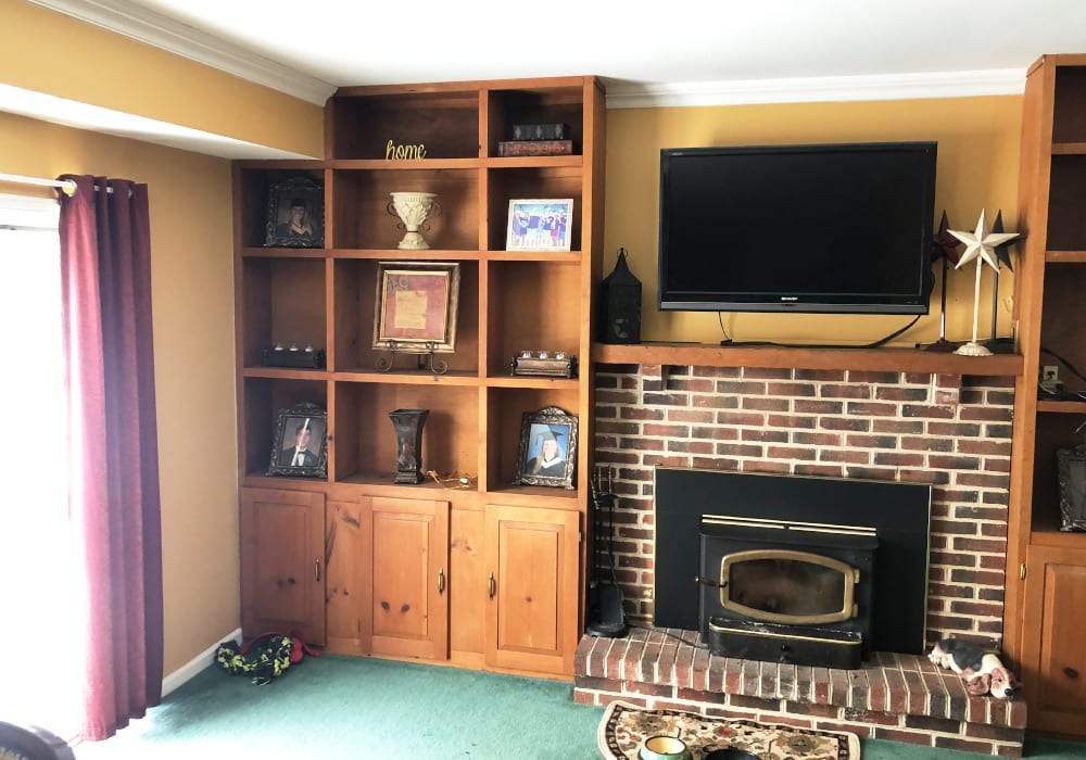 built-in cabinet painting before