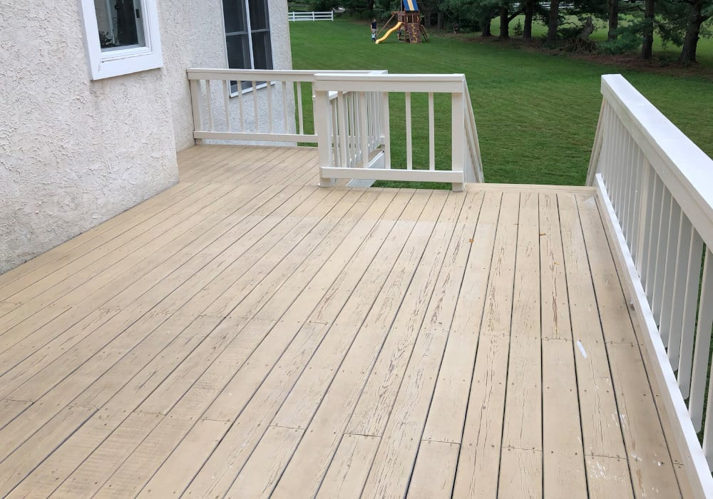 solid stain deck before