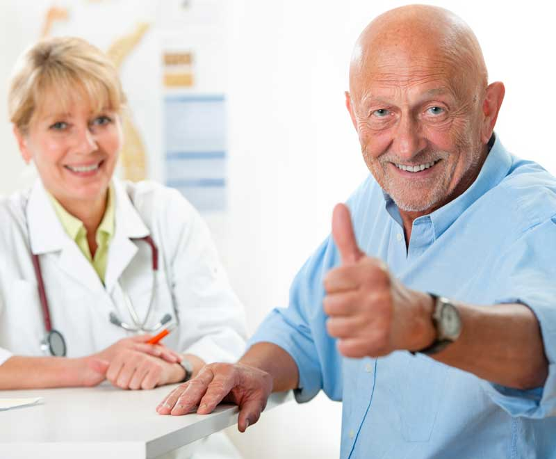 patient and doctor at rehab hospital