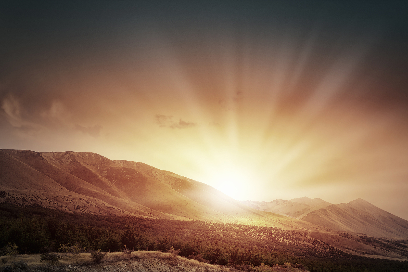 Natural landscape beautiful sunrise above mountain top