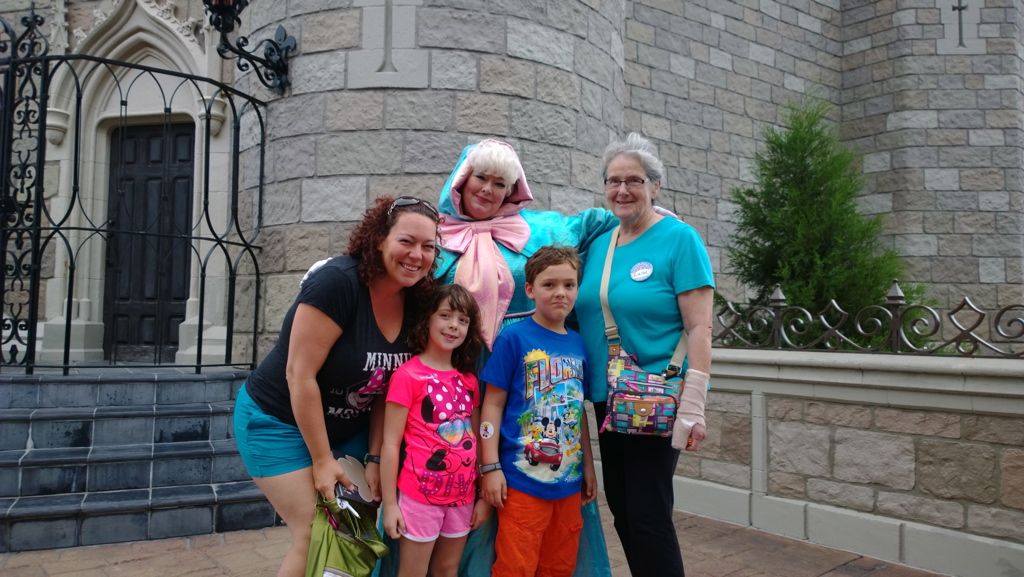 Finding Fairy Godmother just behind the castle - Disney World, survive Disney with special needs