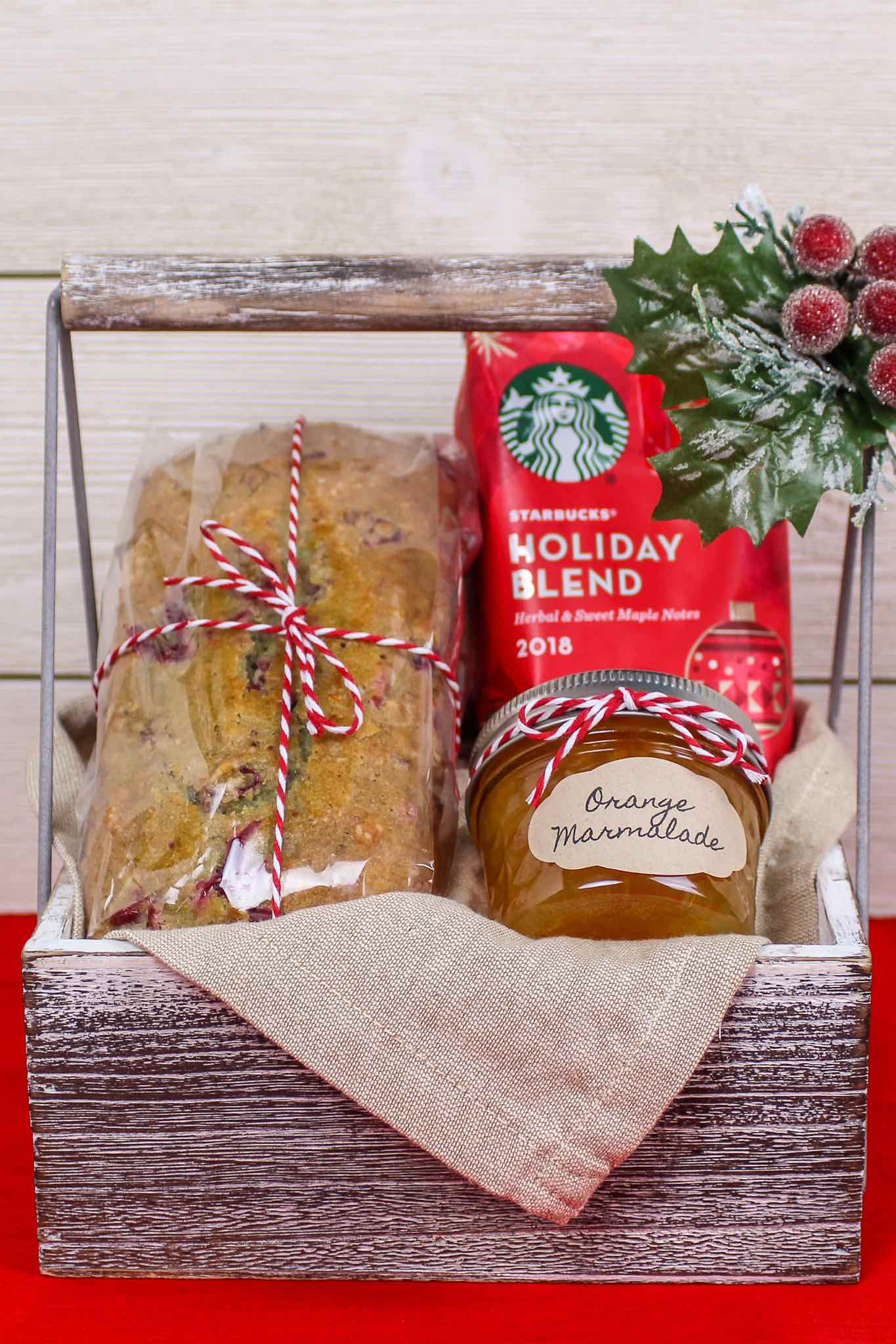 cranberry nut bread in a breakfast basket