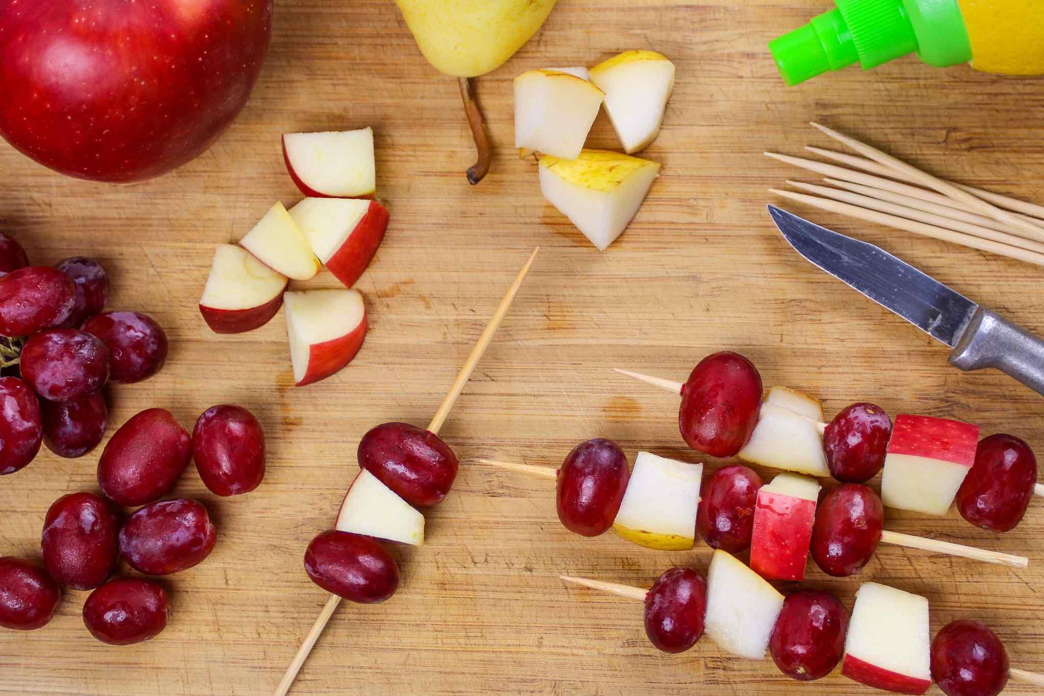 fruit kebab prepartion