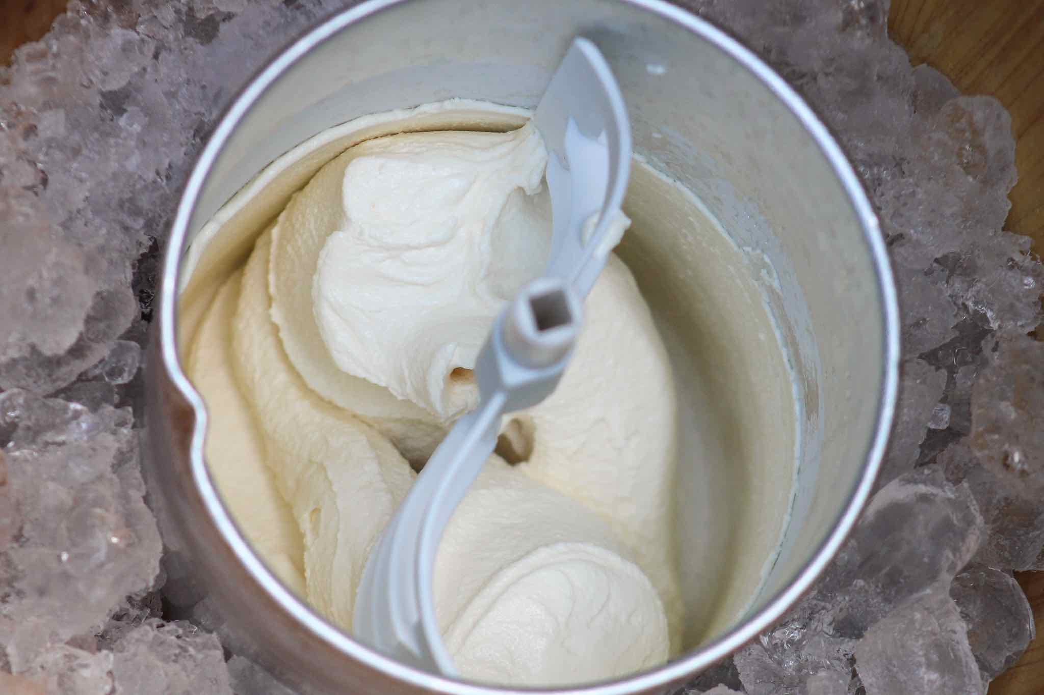 finished ice cream in ice cream maker