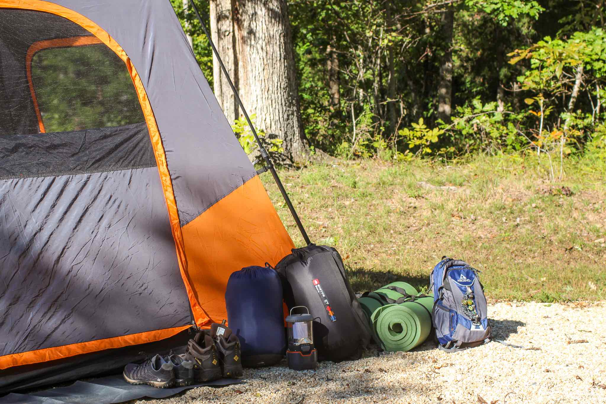 tent and associated camping gear
