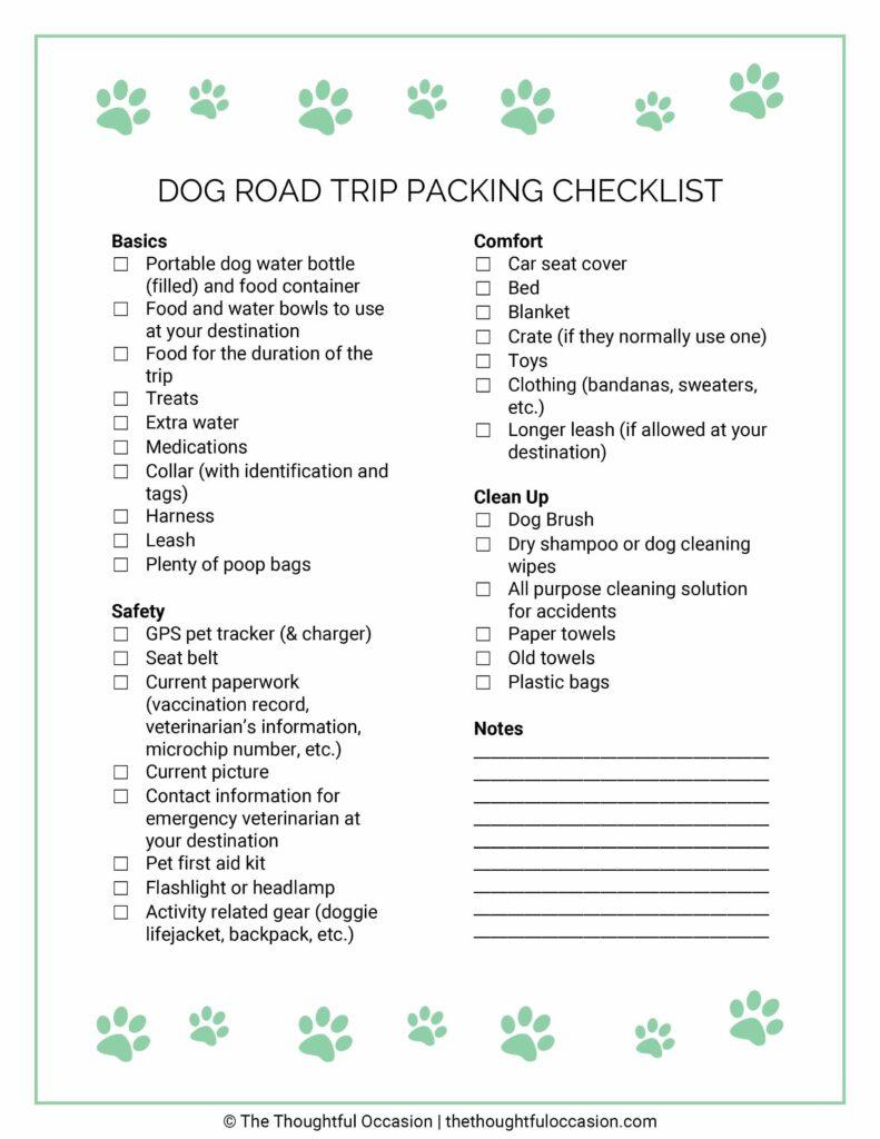 dog road trip packing checklist