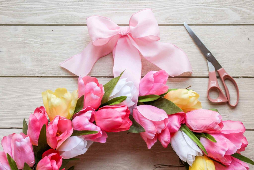 ribbon added to spring wreath