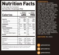 beef pasta marinara nutrition facts