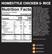 homestyle chicken & rice nutrition facts